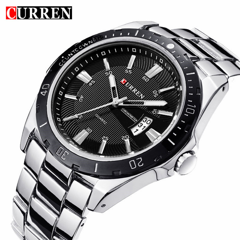 CURREN Fashion Business Wristwatch Casual Military Quartz Sports Men's Watch Full Steel Calendar Male Clock Relogio Masculino