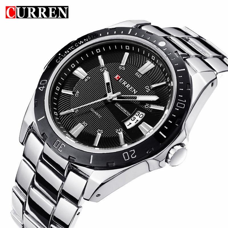 CURREN Fashion Business Wristwatch Casual Military Quartz Sports Men's Watch Full Steel Calendar Male Clock Relogio Masculino