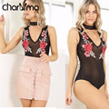 CHARMMA 2017 Spring Summer New Jumpsuits Sexy Black Mesh See Through Floral Embroidered Romper Sleeveless Women Mini Bodysuits