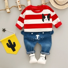 Autumn Baby Boys Sets Long Sleeve Striped Dog Pullover Sweatshirt Tops + Cartoon Denim Pants Jeans Casual Girls Kids 2Pcs Suits