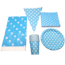 51PCS Light Blue Polka Dots Theme Decoration Tablecloth Birthday Party Flags Napkins Banner Baby Shower Kids Favors Cups Plates