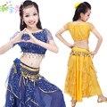 2016 Nuevos Niños Muchachas de la Ropa del Funcionamiento de la Danza Del Vientre Trajes de Danza Del Vientre Niños India Danza Demostración de la Etapa Traje 3 Unids B-3585