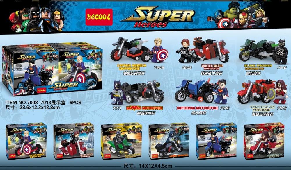 Decool 7008 7013 Super Hero Motorcycle Wonder Woman Black Panther Bricks Building font b Block b
