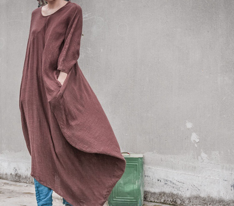 eb92eb08a9f56 2017 Spring New Women Cotton V neck Loose Dress Harajuku Mori Girl Coffee  Color Batwing Sleeve Dress Robes Gown Tunique Femme-in Dresses from Women s  ...