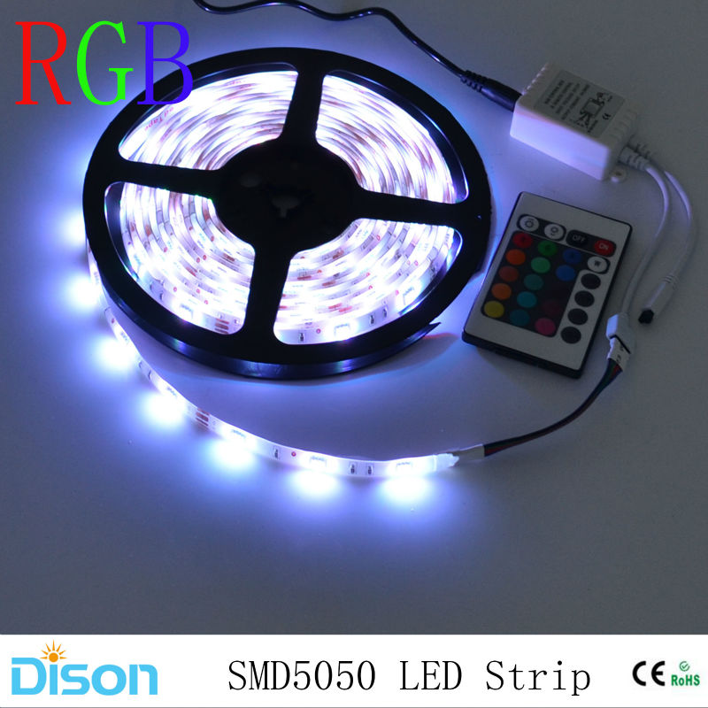 waterproof 5050 SMD RGB LED Strip Lighting Flexible diode Ribbon Lamp Tape 12VLED Ceiling Wall Light IR Controller+Power Adapter