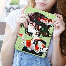 Cartoon Girl Print Tablet Case Cover for Apple iPad Pro 9.7 10.5 11 PU Leather Folding Folio