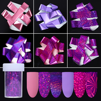 6 Rolls Holographic Starry Nail Foil Purple Pink Manicure Nail Art Transfer Sticker
