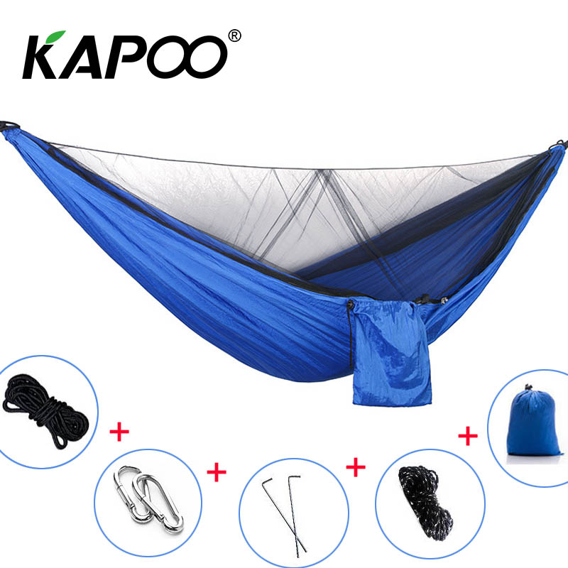 Outdoor Hammock Portable Double Mosquito Net Hammock Parachute Hammock Outdoor Furniture Camping Hammock Soft Bed Picnic Mat blue leisure outdoor hammock portable parachute hammock outdoor furniture single double hammock picnic mat camping hammock