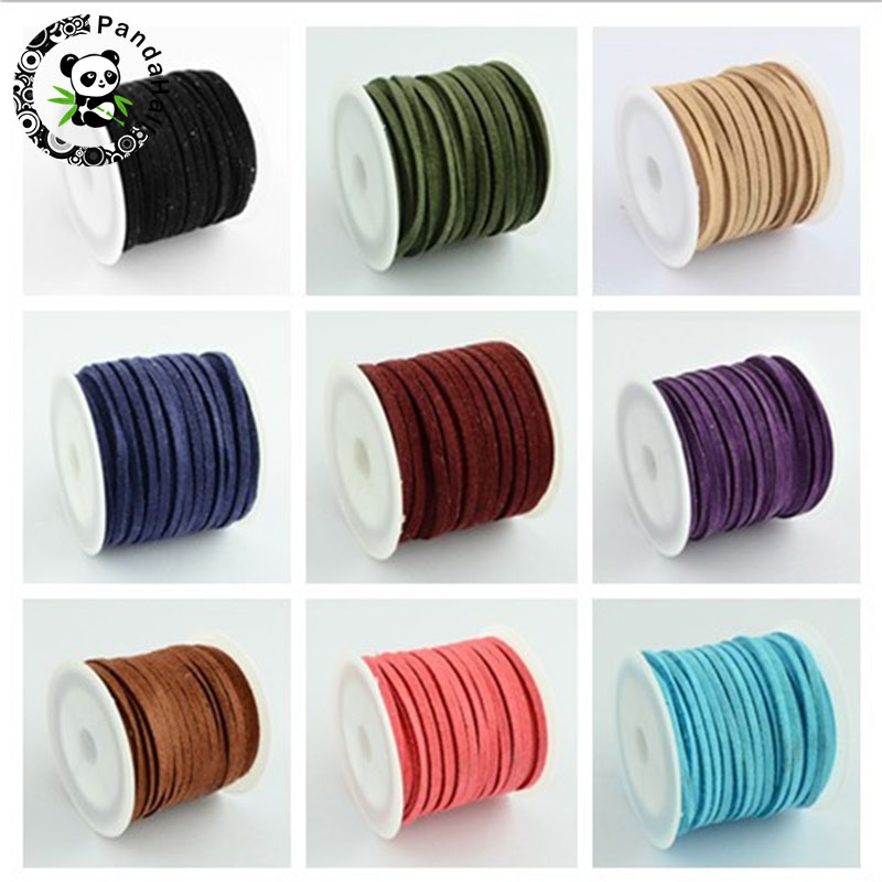 Promotion 3mm 5m/roll Mixed Color Faux Suede Cord DIY Lace Leather for Cloth Shoes Jewelry Making Finding Accessories Free Ship