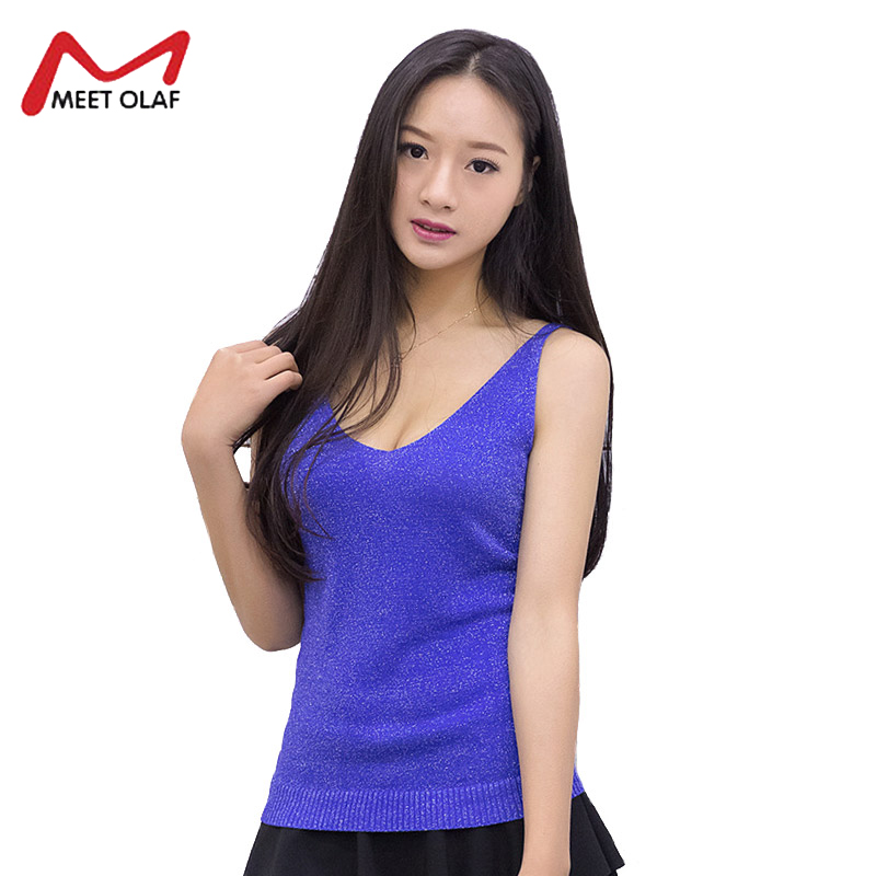 Tank Top Women Casual Solid Top Female Deep V-Neck Fashion Shiny Silver Wire Camis Women <font><b>Haut</b></font> Femme <font><b>Sexy</b></font> Cropped Feminino Y2455 image