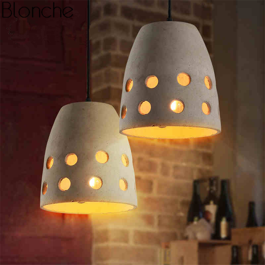 Vintage Cement Pendant Lights Led Loft Industrial Decor Hanging Lamp for Living Room Kitchen Bar Home Light Fixtures Luminaria colorful retro vintage loft led pendant light industrial hanging lamp indoor lights home fixtures for restaurant bar living room