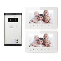 Wired Home 7'' Color Video Door Intercom System HD Camera Door Bell with 2 Monitors Video Door Phone for multi Apartments