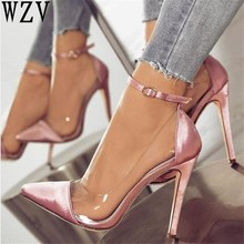 2018 jelly clear chaussure bride sexy women pump zapatos mujer thin high  heels ankle buckle ladies 3d92e5ed2514