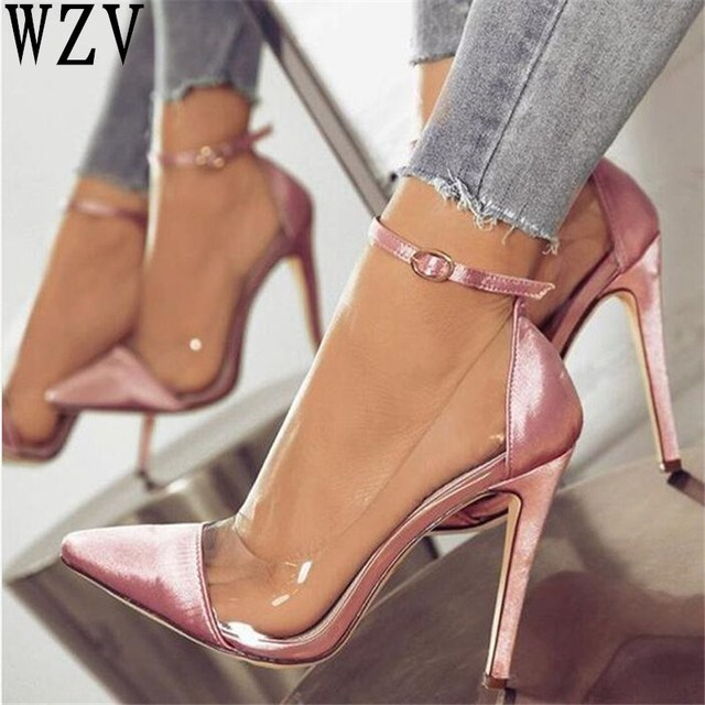 1695a7519e64 2018 jelly clear chaussure bride sexy women pump zapatos mujer thin high  heels ankle buckle ladies wedding shoes woman sapato