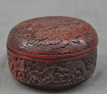 Old China Chinese Lacquerware Carved Dragon Phoenix Lucky Statue Box Boxes