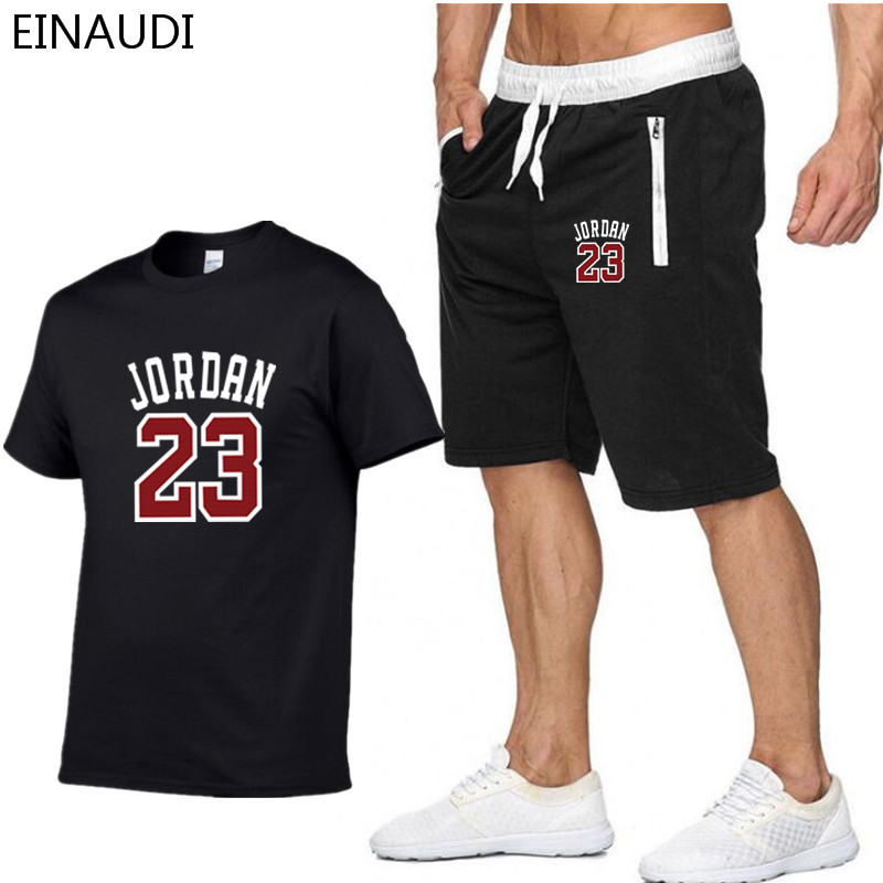 2019 New Model Clothes Jordan 23 Males T-shirt Swag T-Shirt Cotton Print T shirt Homme Health Camisetas Hip Hop Tees+Shorts T-Shirts, Low-cost T-Shirts, 2019 New Model Clothes Jordan 23...