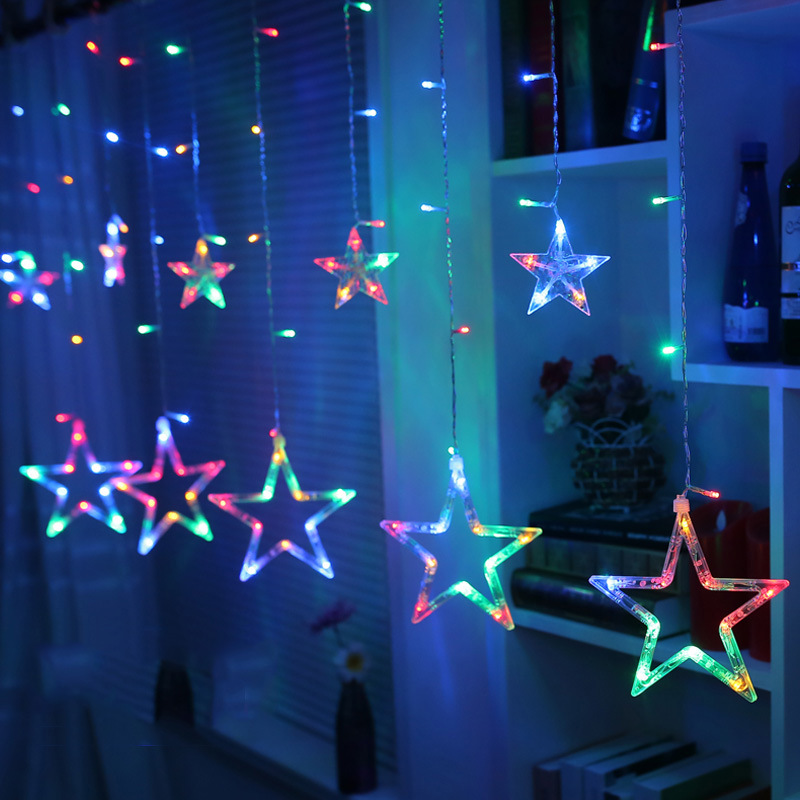220V LED Solar Power Fairy Holiday Lights Christmas Holiday Party Xmas Tree Curtain Decoration String Waterproof Curtain Lamp snowy christmas tree pattern shower bath curtain