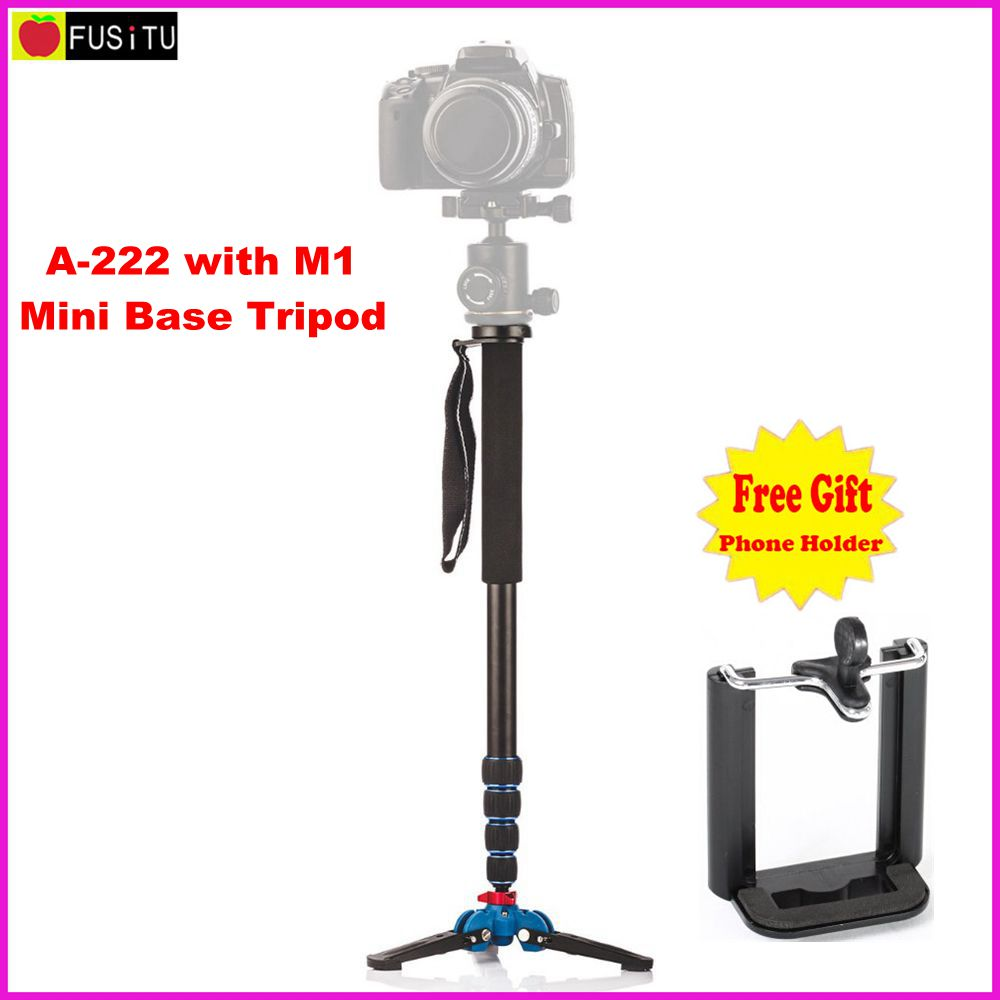Manbily A-222 + M-1 Walking Base Stick Tripod 1650mm Alumninum Camera Unipod Monopod Flip Lock w / 3 Kaki Base Tripod Untuk DSLR DV