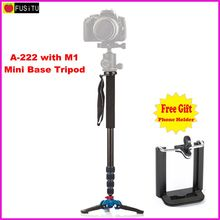 Manbily A-222 +M-1 Walking Stick Base Tripod 1650mm Alumninum Camera Unipod Monopod Flip Lock w/3 Legs Base Tripod For DSLR DV