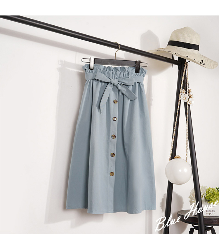 HTB1WOj.kSzqK1RjSZFLq6An2XXaG - Summer Autumn Skirts Womens Midi Knee Length Korean Elegant Button High Waist Skirt Female Pleated School Skirt