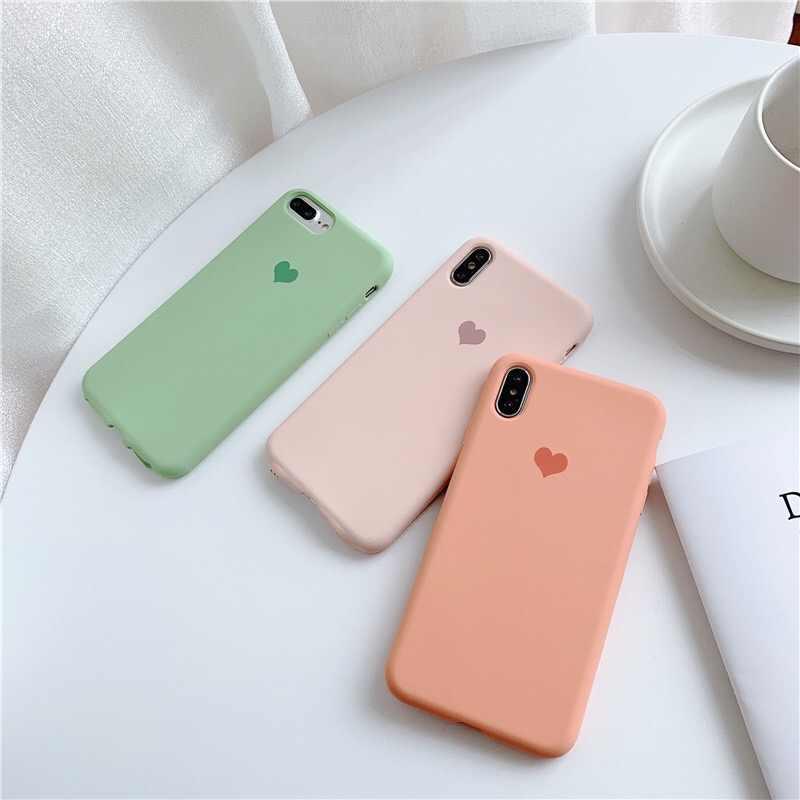 Силиконовый чехол CYATO с милым сердечком, чехол для телефона s, для iPhone XS Max, iPhone X, XS, 6, 6 S, 7, 8 Plus, мягкие, приятные на ощупь, розовые, зеленые покрытия