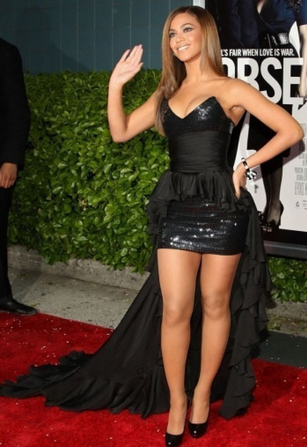 New Arrival Black Beyonce Asymmetrical Sweetheart Strapless Low Back  Sequined Lace Chiffon High Low Celebrity Dresses b37a683d6349