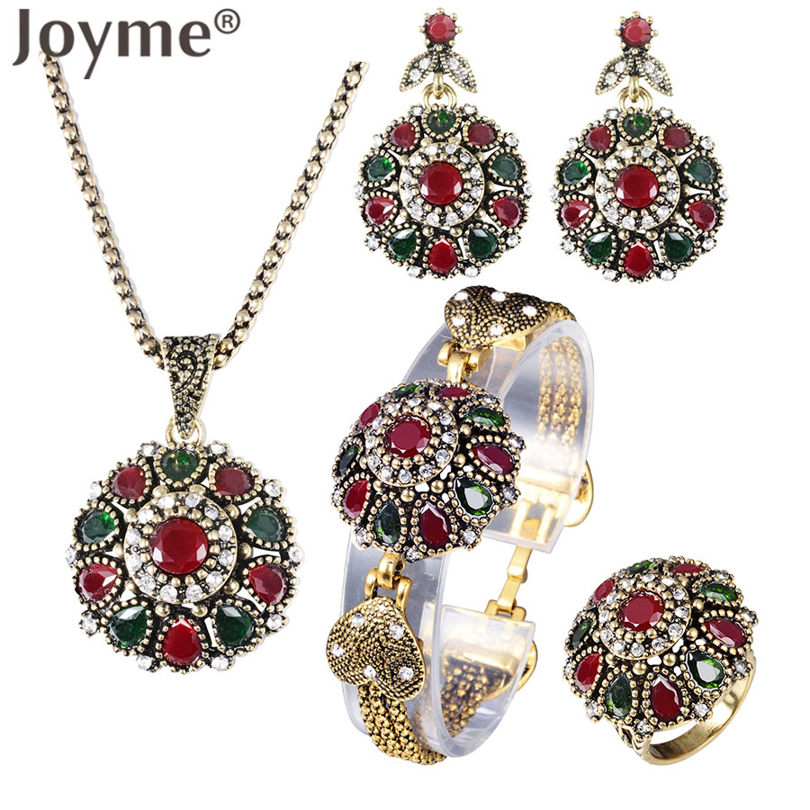 Vintage Rhinestone Bridal Necklace Sets Earrings For Women Jewelry Set Bohemian Rings Wedding Turkish Nigerian Red Jewellery a suit of vintage rhinestone leaf necklace and earrings for women page 3