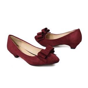 Image 3 - Женские туфли лодочки Phoentin с узлом бабочкой, на каблуке шпильке, винного цвета, с острым носком, без застежки, из искусственной кожи, FT188, весна осень