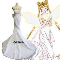 Sailor Moon Tsukino Usagi Angel Tube Tops Full Formal Dresses Uniform Outfit Anime Cosplay Costumes
