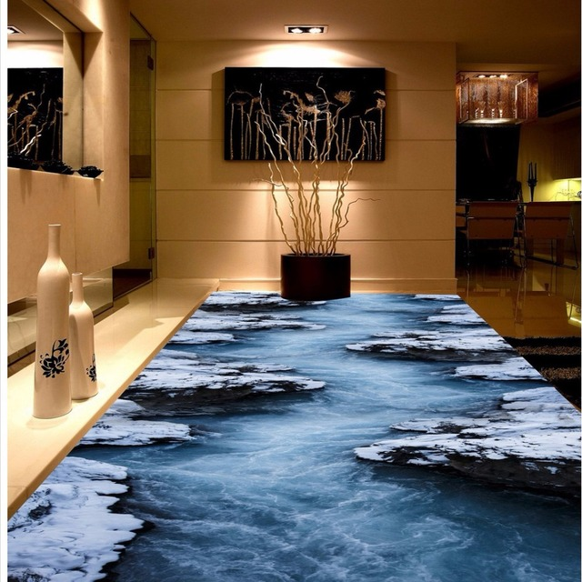 Fireproof Flooring Material >> Free Shipping Snow flowing water natural scenery flooring ...