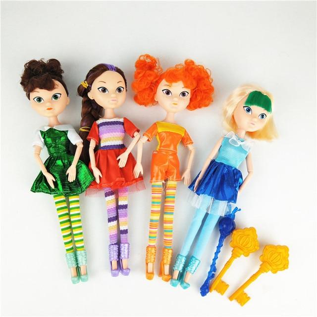 4 יח\סט רוסית Cartoon Kawaii פיות פנטזיה סיירת אופנה יוניסקס בובת פלסטיק DIY בד דגם צעצועי חג מולד מתנה עבור בנות