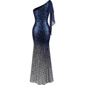 Image 2 - 천사 패션 긴 이브닝 드레스 빈티지 스팽글 그라데이션 인어 드레스 블루 286