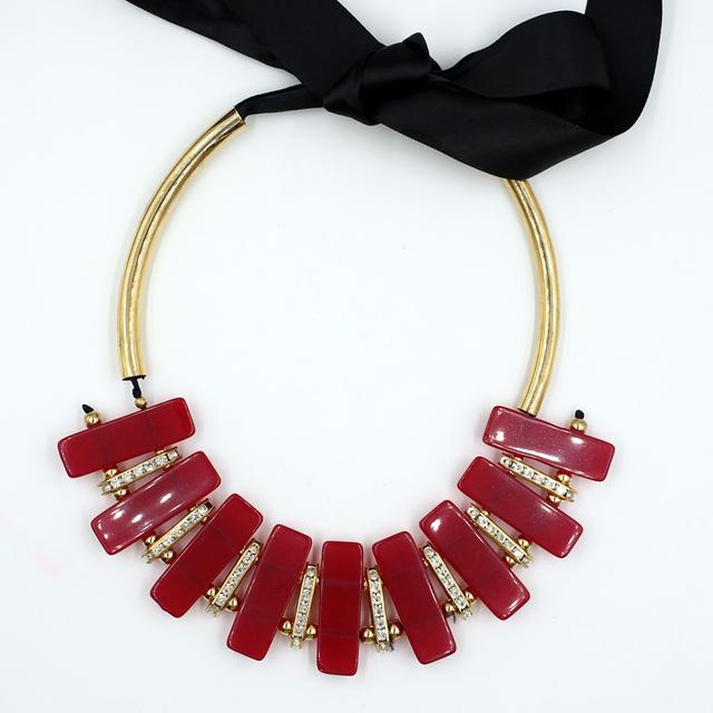 Boho de la Alta Calidad 2015 de Joyería de Moda Gargantilla torques Collar rojo grande rojo cuerda cadena Collar de Las Mujeres Declaración Collares Colgantes