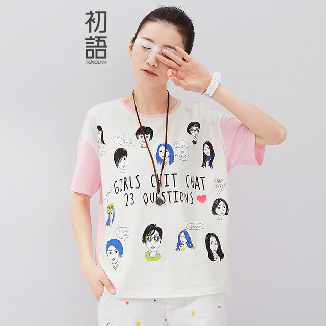 Toyouth 2017 Summer New Arrival Women Tees Character Print Short Sleeve O-Neck T-Shirts Female Casual Loose All Match T-Shirts