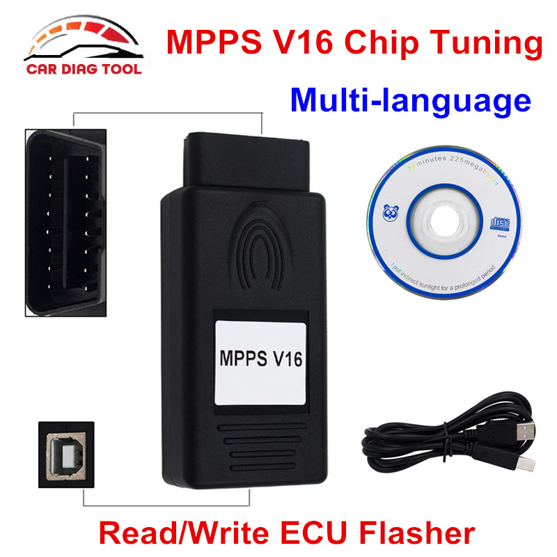 MPPS V16 ECU Flasher Chip Tuning Remapping Tool for EDC15 EDC16 EDC17 Read Write
