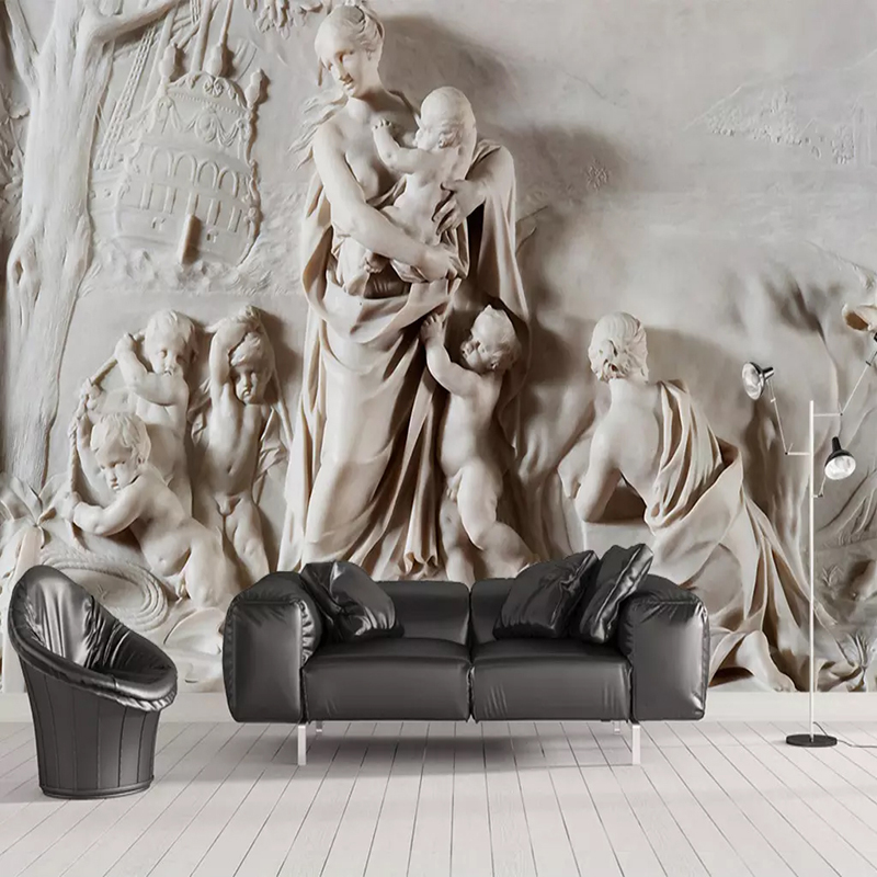 Custom Photo Wallpaper 3D Stereoscopic Embossed Statue Background Wall Mural Living Room Sofa Bedroom TV Backdrop Wall Painting