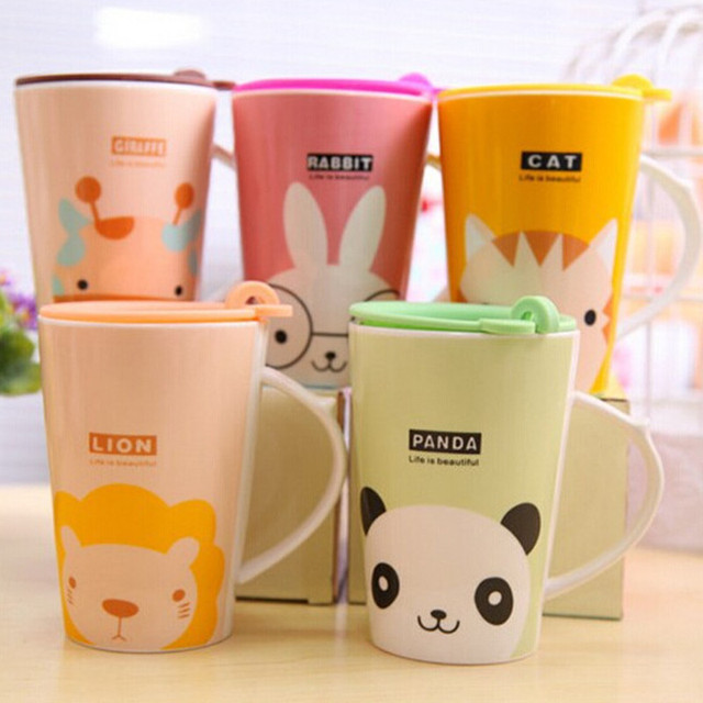 Cute Animal Pattern Reusable Travel Cup Coffee Mug Ceramic With Silicone Lid And