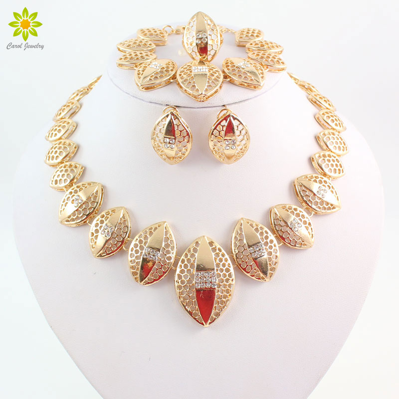 Gold Color Jewelry Sets African Necklace Earrings Costume Jewelry Set Nigerian Wedding African Fashion Jewelry Set & ?Gold Color Jewelry Sets African Necklace Earrings Costume Jewelry ...