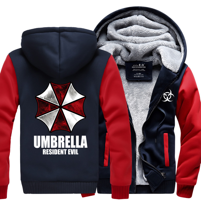 New hot Winter Warm Hoodie Anime Resident Evil umbrella Hooded Coat Thicken Zipper Jacket Sweatshirt cotton