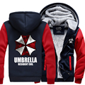 New hot Winter Warm Hoodie Anime Resident Evil umbrella Hooded Coat Thicken Zipper Jacket Sweatshirt cotton long sleeve For Men