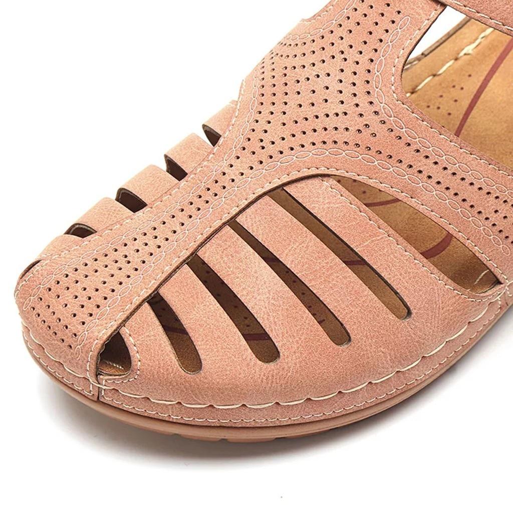 HTB1WOjheA9E3KVjSZFGq6A19XXa5 Women's Sandals Summer Ladies Girls Comfortable Ankle Hollow Round Toe Sandals Female Soft Beach Sole Shoes Plus Size C40#