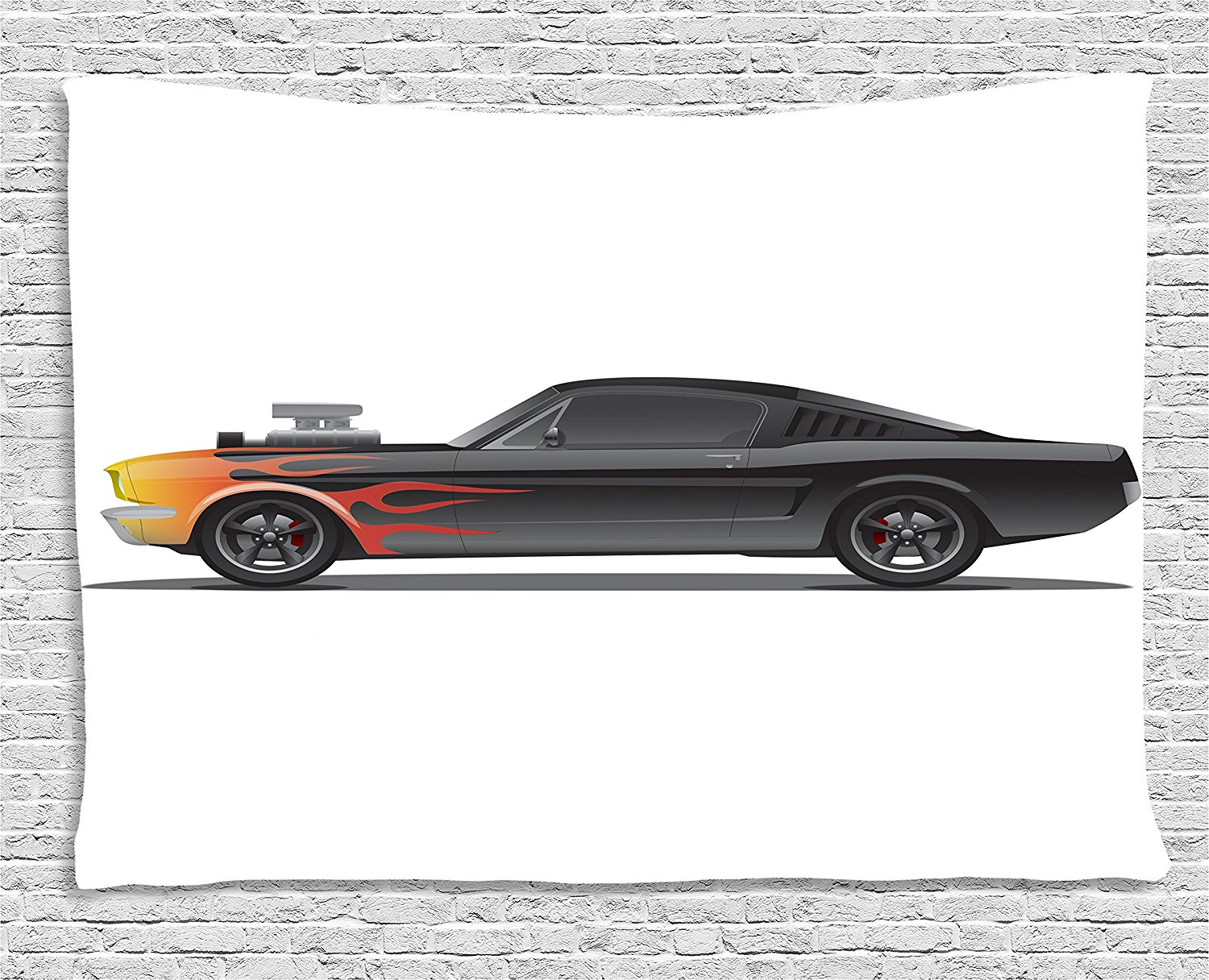 Cars Tapestry Custom Design Muscle Car With Supercharger And Flames