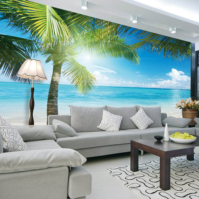 Buy coconut tree beach photo wallpaper for Beach mural bedroom