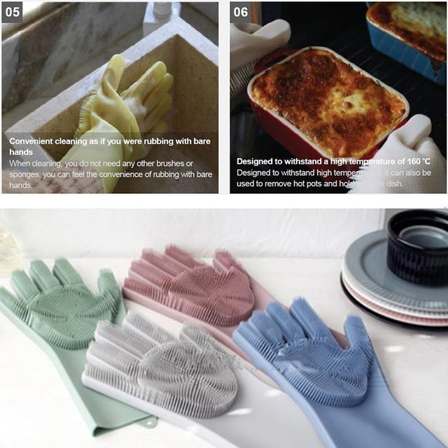 A Pair Magic Silicone Scrubber Rubber Cleaning Gloves Dusting|Dish Washing|Pet Care Grooming Hair Car|Insulated Kitchen Helper 3