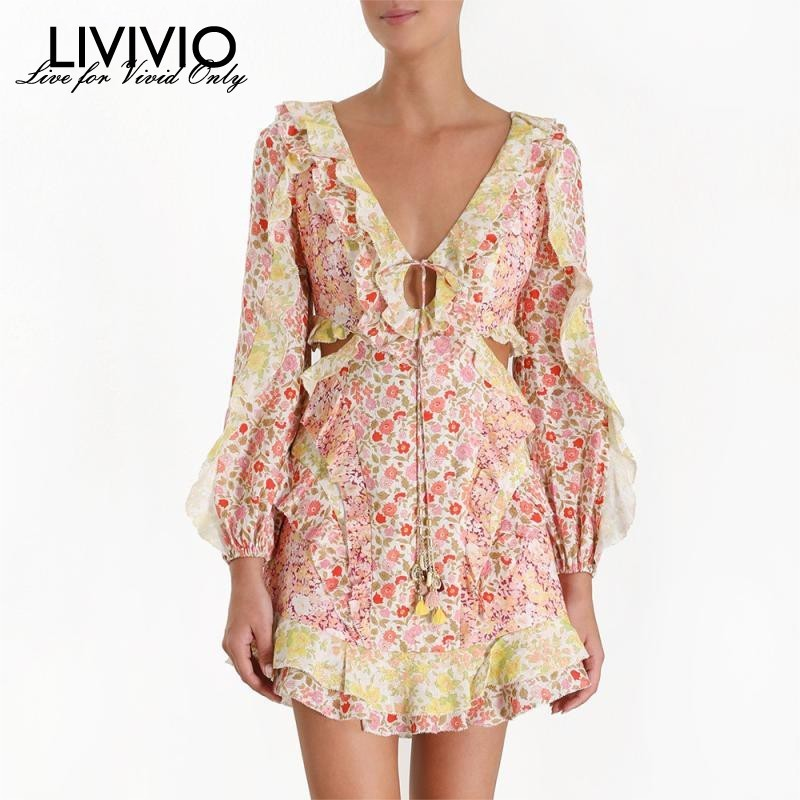 LIVIVIO 2019 Summer Bohemian New Hollow Out Waist V Nec Lantern Long Sleeve Mini Dress