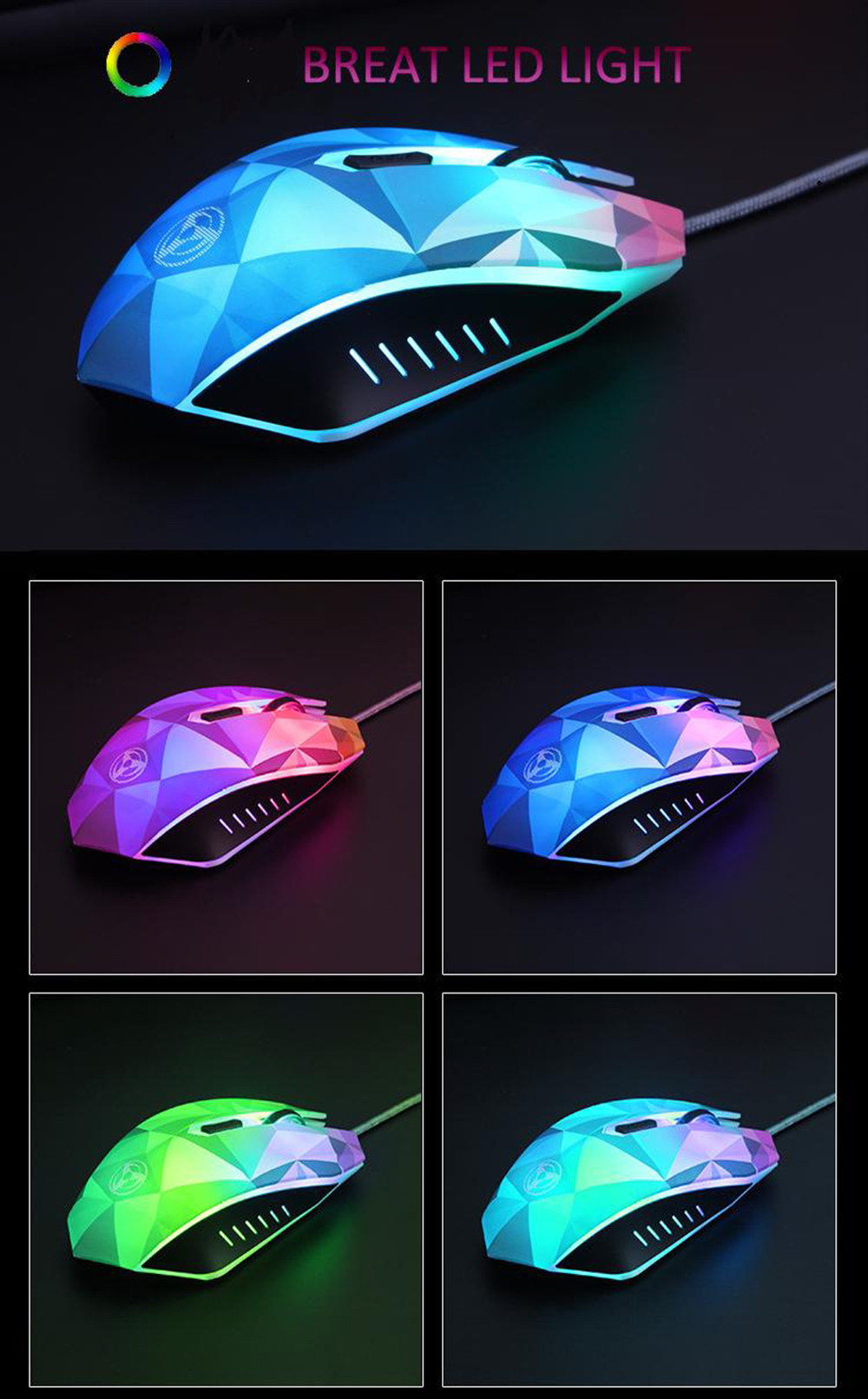Original Hongsund Dazzle Colour Diamond Edition Gaming Mouse Wired Mouse Gamer Optical Computer Mouse For Pro Gamer 8