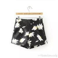 Women Flower Short Trouser Loose Black Shorts For Girl Feminino Low Waist Korean Fashion Fitness Sweatpant Cheap Clothing China