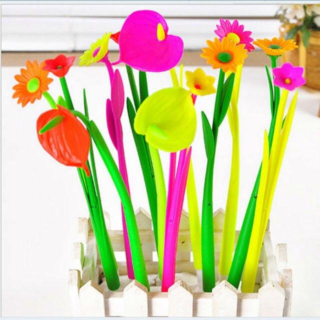 36 PCS/lot Flower Plant Ballpoint Pen software bending neutral pen cute style student award gift