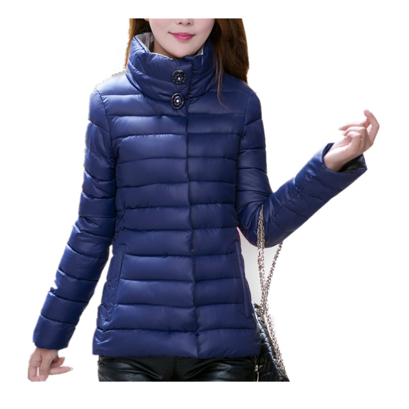 ФОТО Winter Wadded jacket female short design plus size clothing outerwear slim thin Warm stand collar cotton-padded jacket female