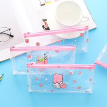 1Pcs/lot Creative Small Fresh Large Capacity Simple Fruit Transparent  Pencil Case School Supplies Stationery